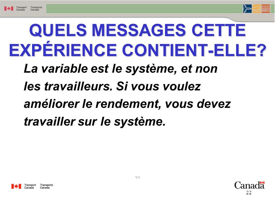 QUELS MESSAGES CETTE EXPÉRIENCE CONTIENT-ELLE