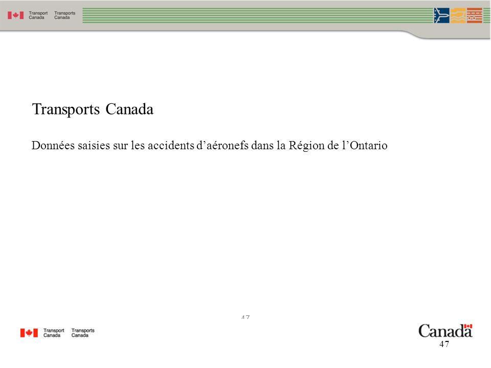 Transports Canada Données saisies sur les accidents d'aéronefs dans la Région de l'Ontario