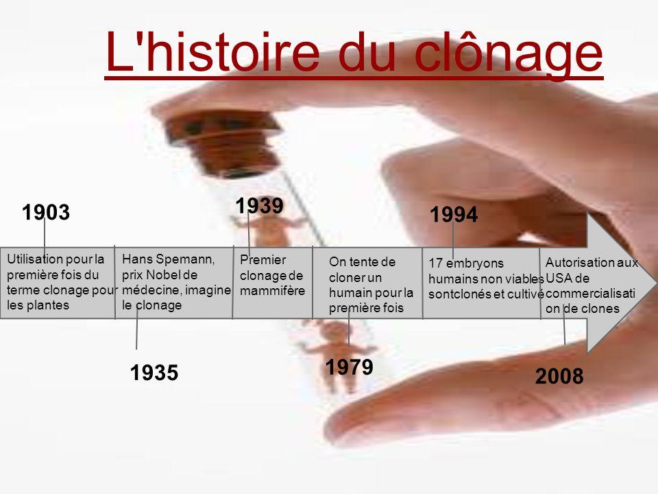 L histoire du clônage 1939. 1903. 1994. Utilisation pour la première fois du terme clonage pour les plantes.