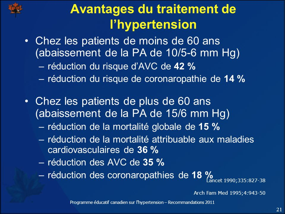Avantages du traitement de l'hypertension