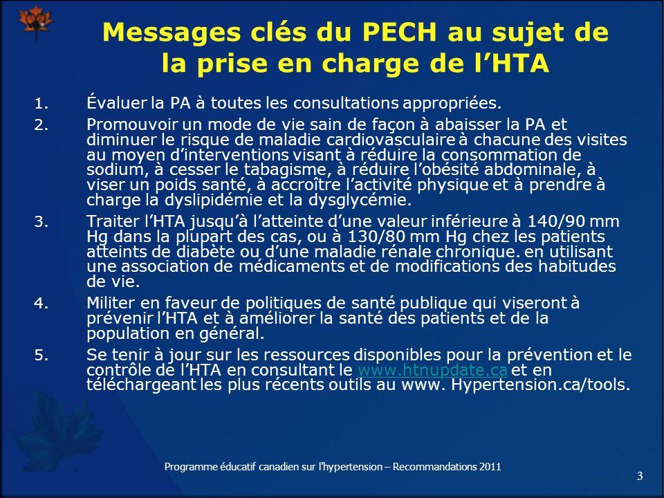 Messages clés du PECH au sujet de la prise en charge de l'HTA