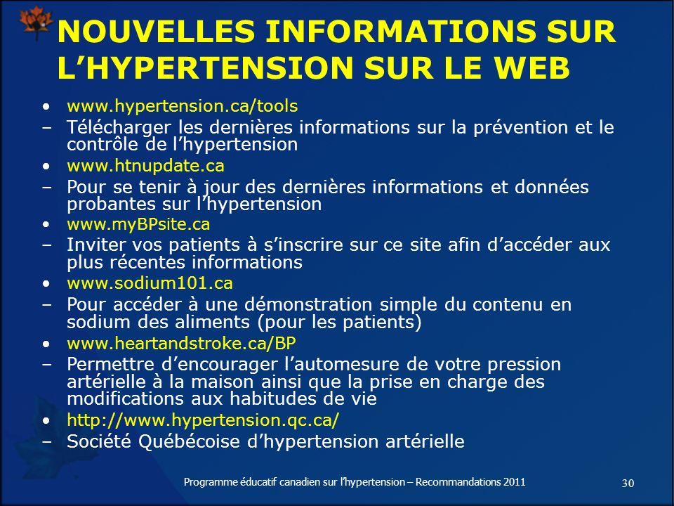 NOUVELLES INFORMATIONS SUR L'HYPERTENSION SUR LE WEB