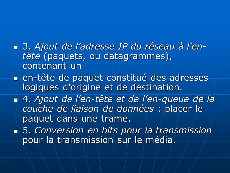 3. Ajout de l'adresse IP du réseau à l'en-tête (paquets, ou datagrammes), contenant un