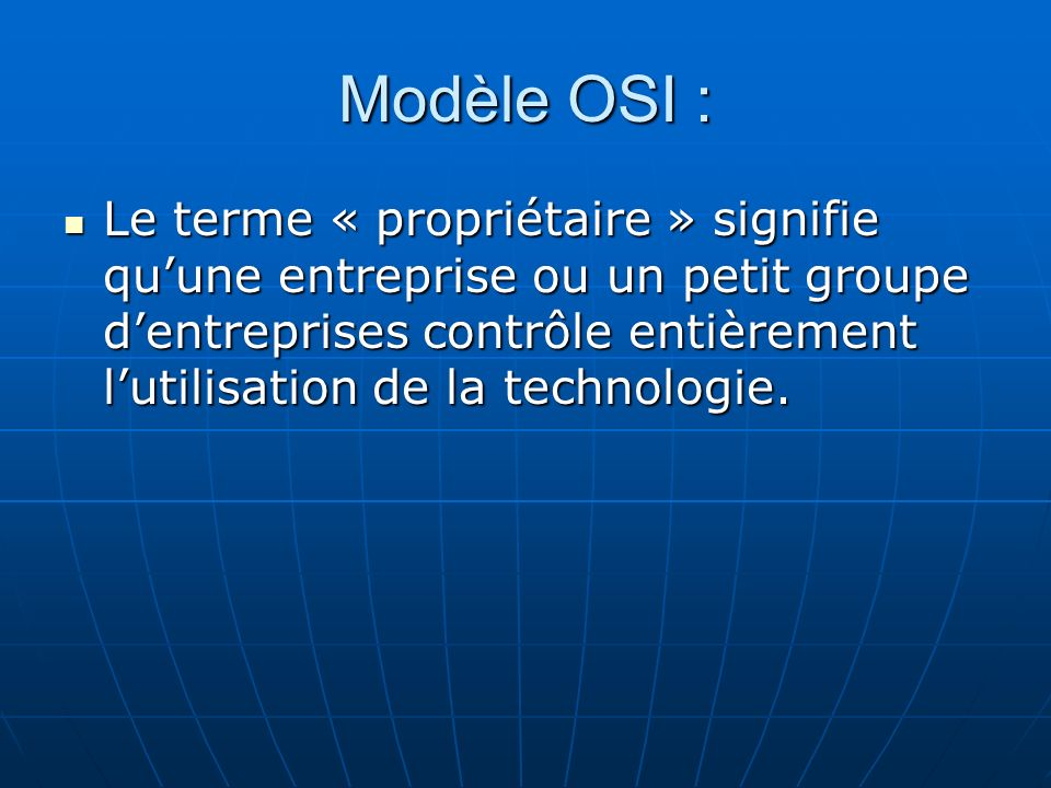 Modèle OSI :