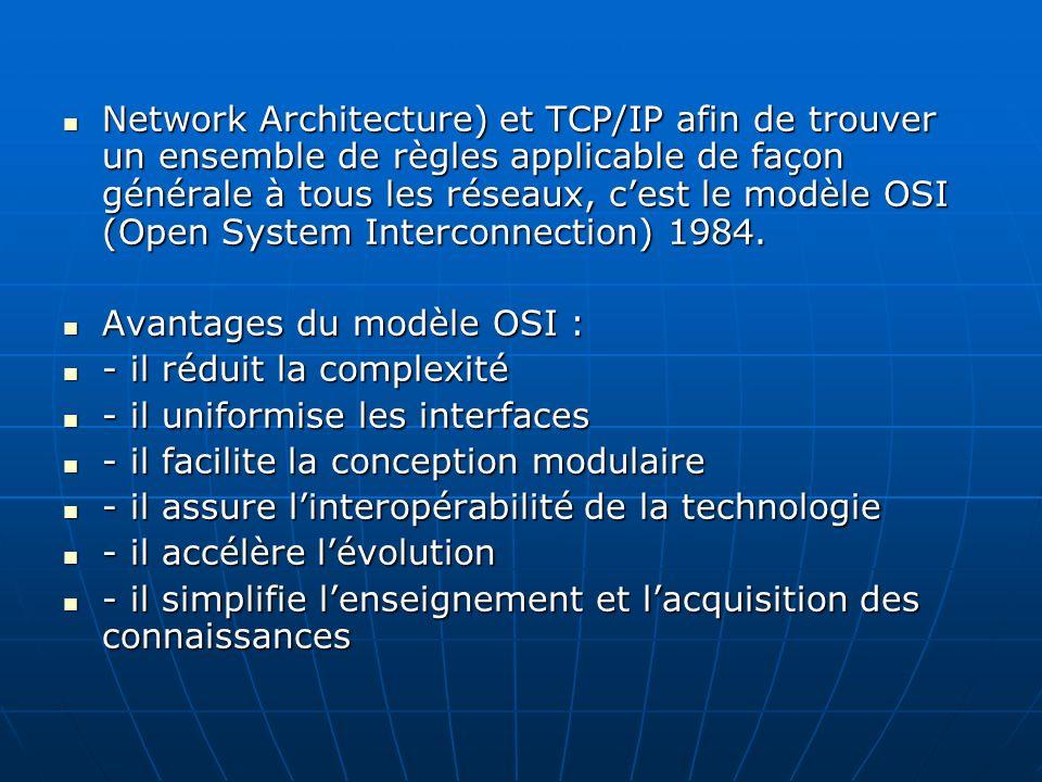 Network Architecture) et TCP/IP afin de trouver un ensemble de règles applicable de façon générale à tous les réseaux, c'est le modèle OSI (Open System Interconnection) 1984.