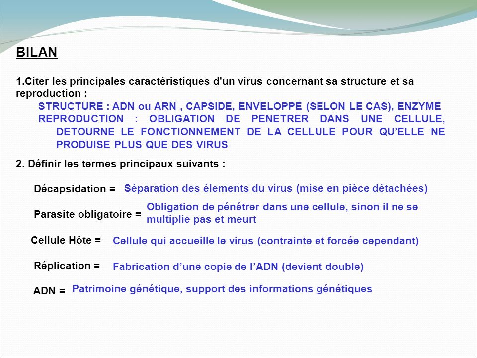 BILAN Citer les principales caractéristiques d un virus concernant sa structure et sa reproduction :