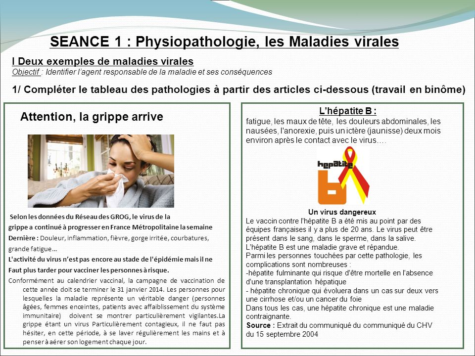 SEANCE 1 : Physiopathologie, les Maladies virales