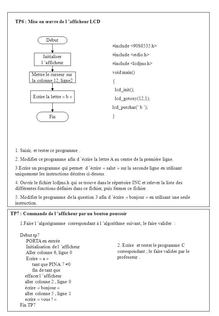 TP6 : Mise en œuvre de l 'afficheur LCD