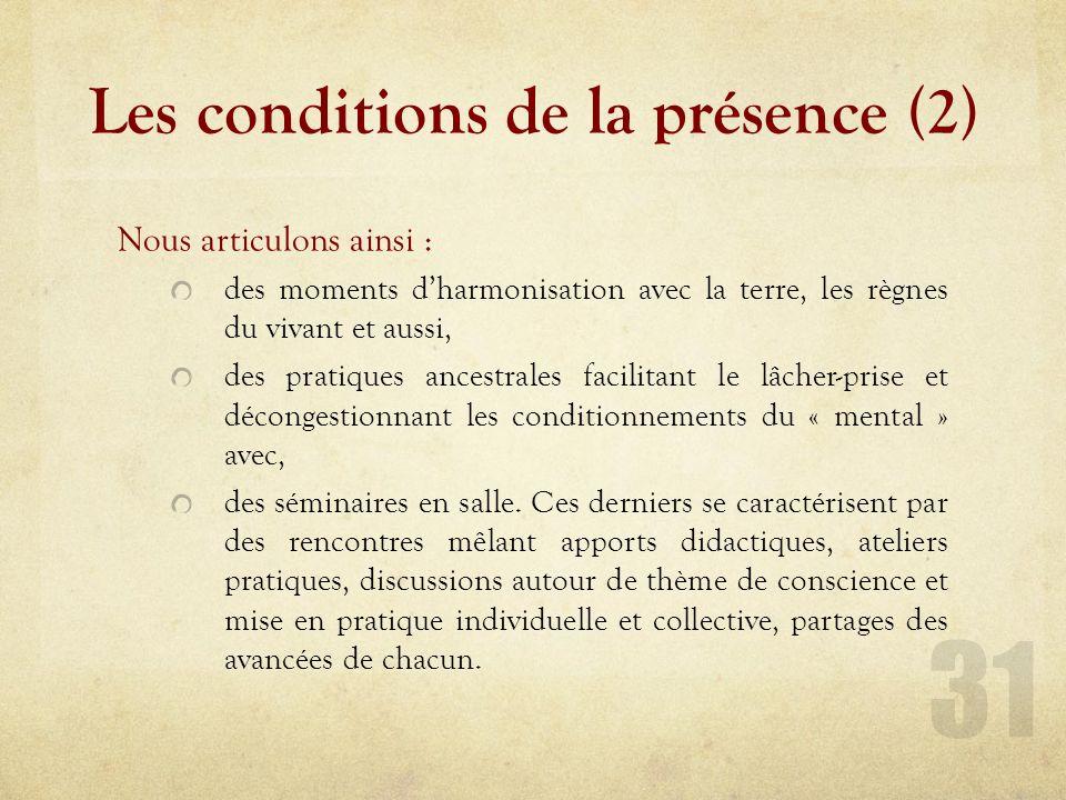 Les conditions de la présence (Modules harmonisation)
