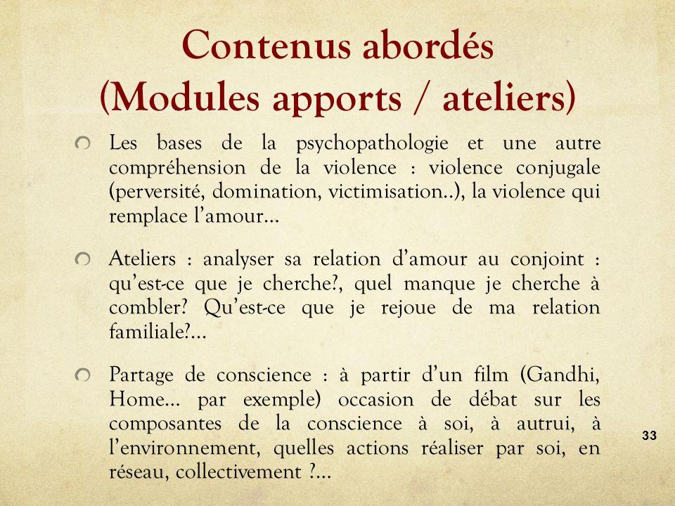 Contenus abordés (apports / ateliers)