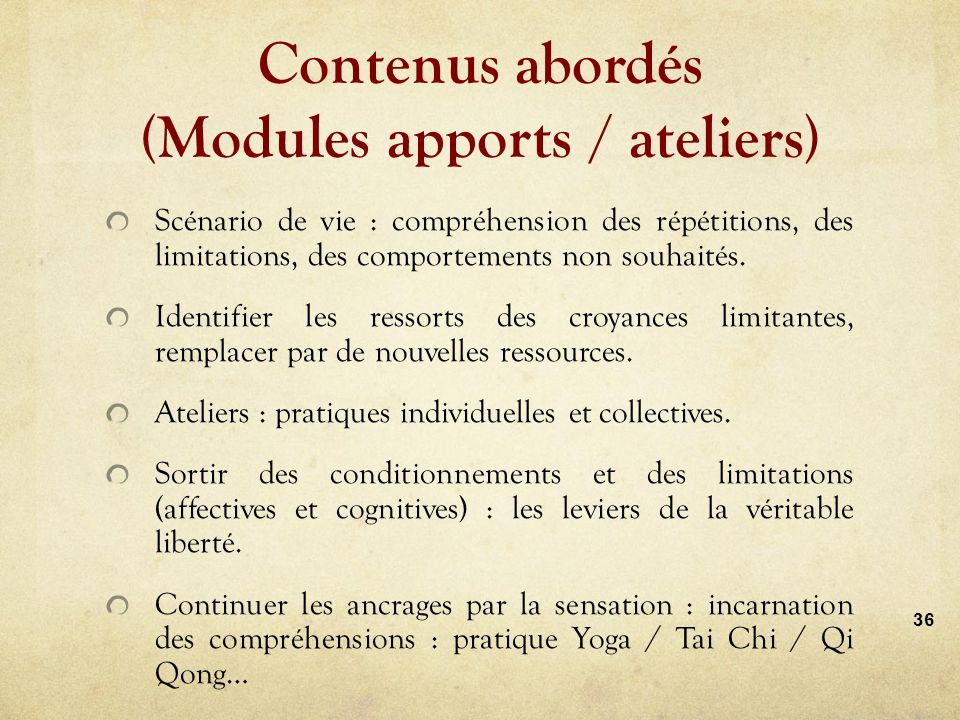 Contenus abordés (Modules apports / ateliers)