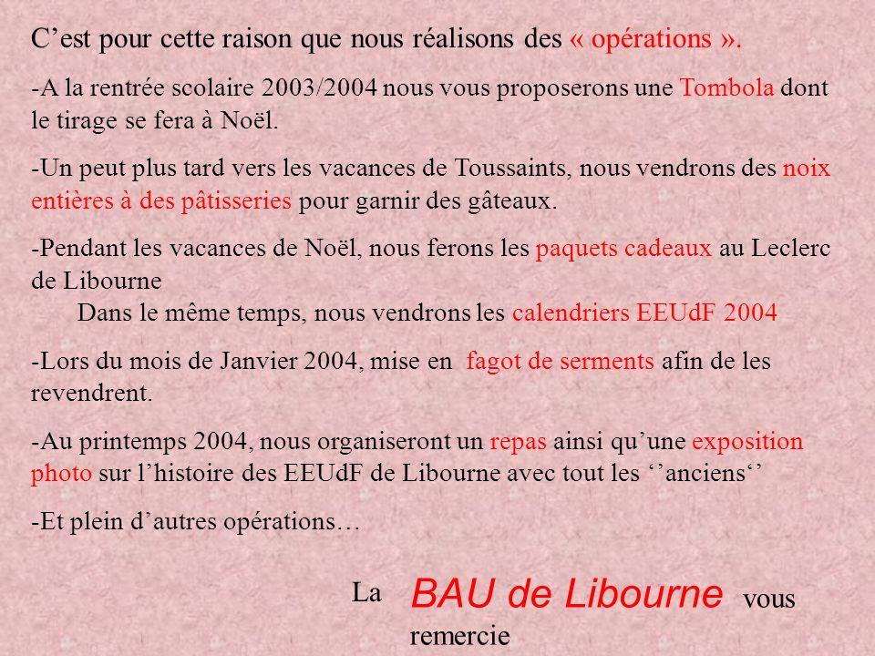 BAU de Libourne vous remercie d'avance de votre participation