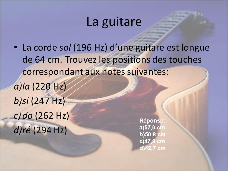 La guitare La corde sol (196 Hz) d'une guitare est longue de 64 cm. Trouvez les positions des touches correspondant aux notes suivantes: