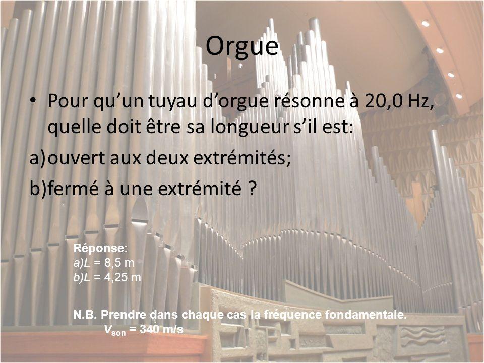 Orgue Pour qu'un tuyau d'orgue résonne à 20,0 Hz, quelle doit être sa longueur s'il est: ouvert aux deux extrémités;