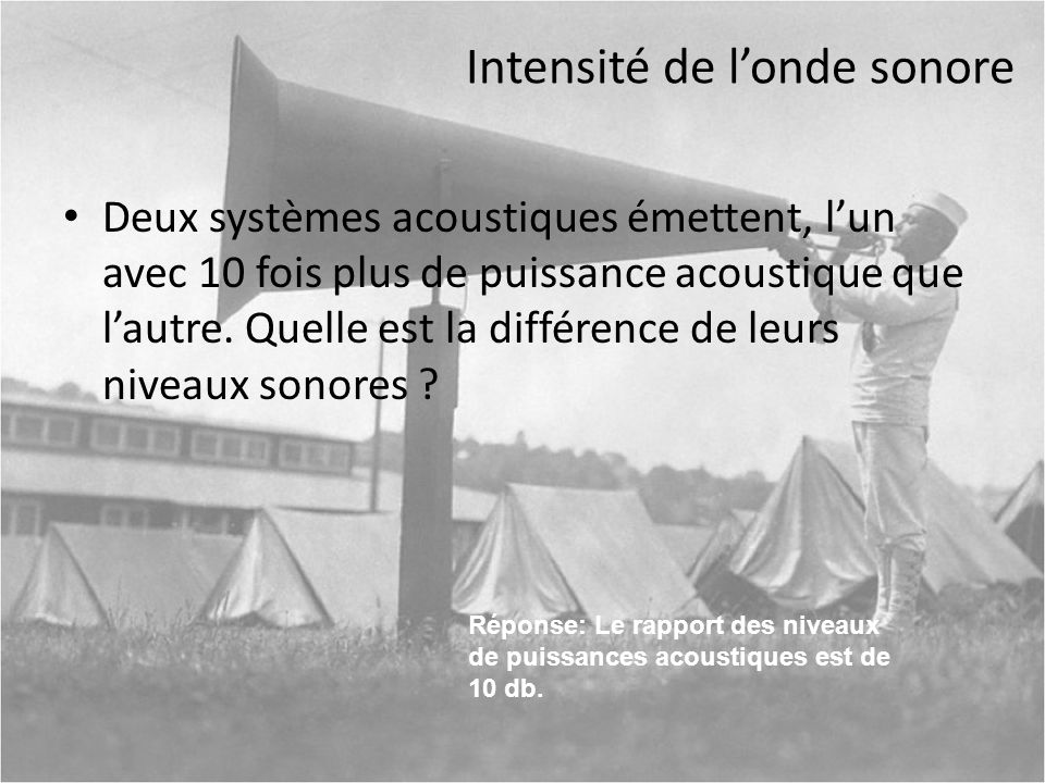 Intensité de l'onde sonore
