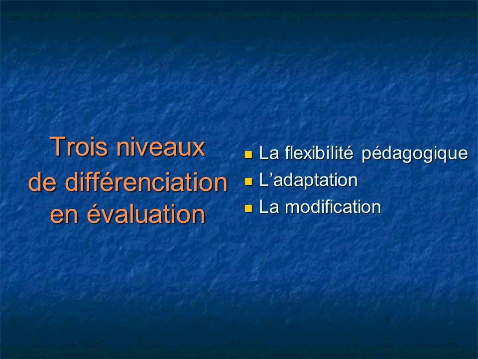 Trois niveaux de différenciation en évaluation