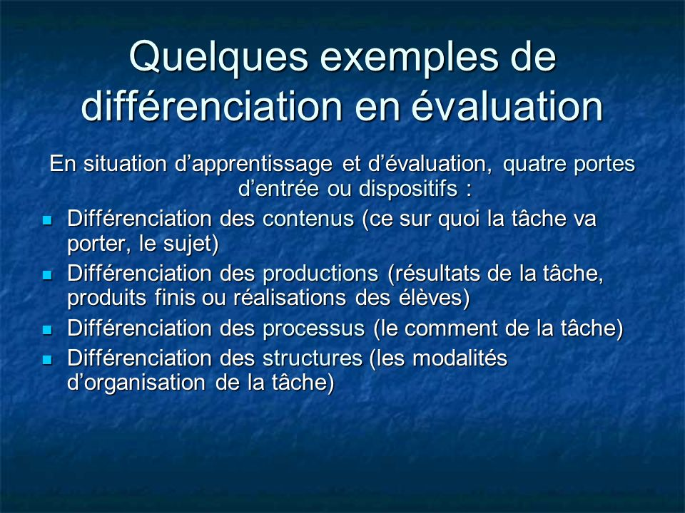 Quelques exemples de différenciation en évaluation