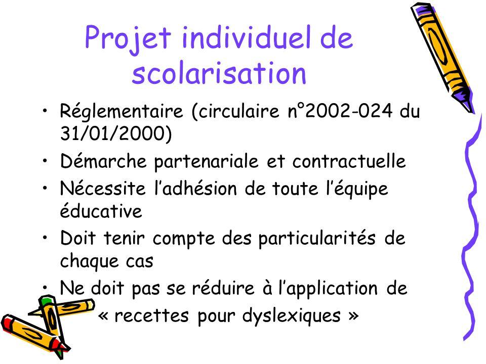 Projet individuel de scolarisation