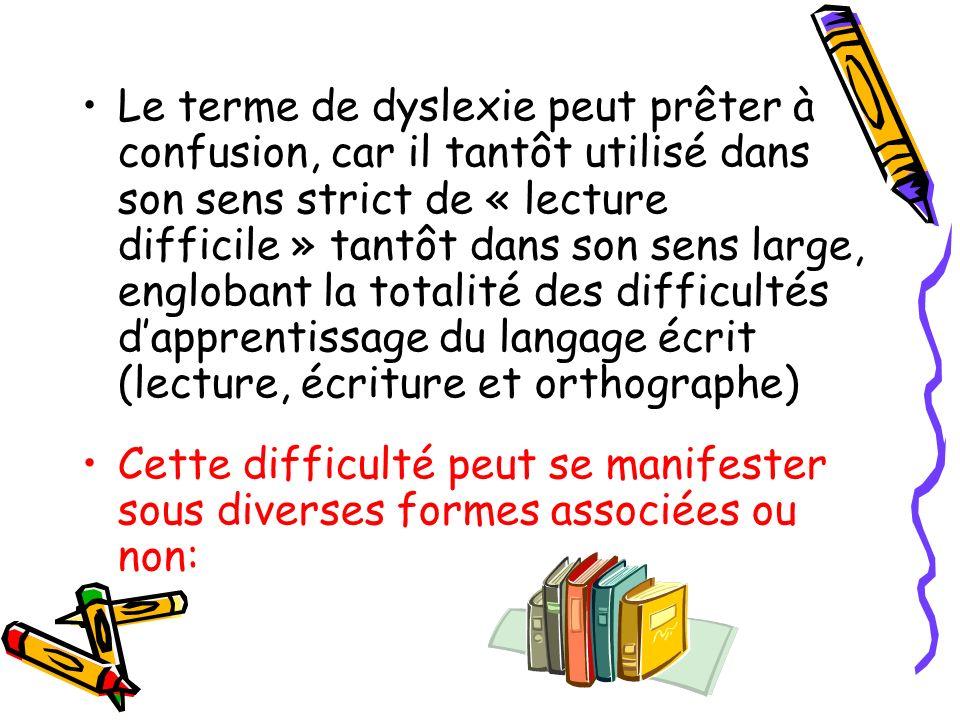 Le terme de dyslexie peut prêter à confusion, car il tantôt utilisé dans son sens strict de « lecture difficile » tantôt dans son sens large, englobant la totalité des difficultés d'apprentissage du langage écrit (lecture, écriture et orthographe)