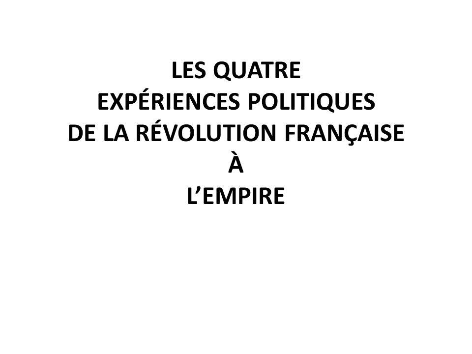 LES QUATRE EXPÉRIENCES POLITIQUES DE LA RÉVOLUTION FRANÇAISE À L'EMPIRE