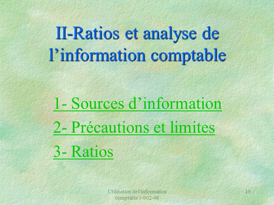 II-Ratios et analyse de l'information comptable
