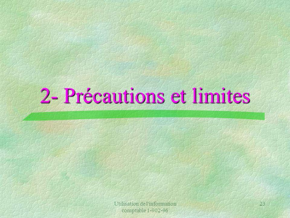 2- Précautions et limites
