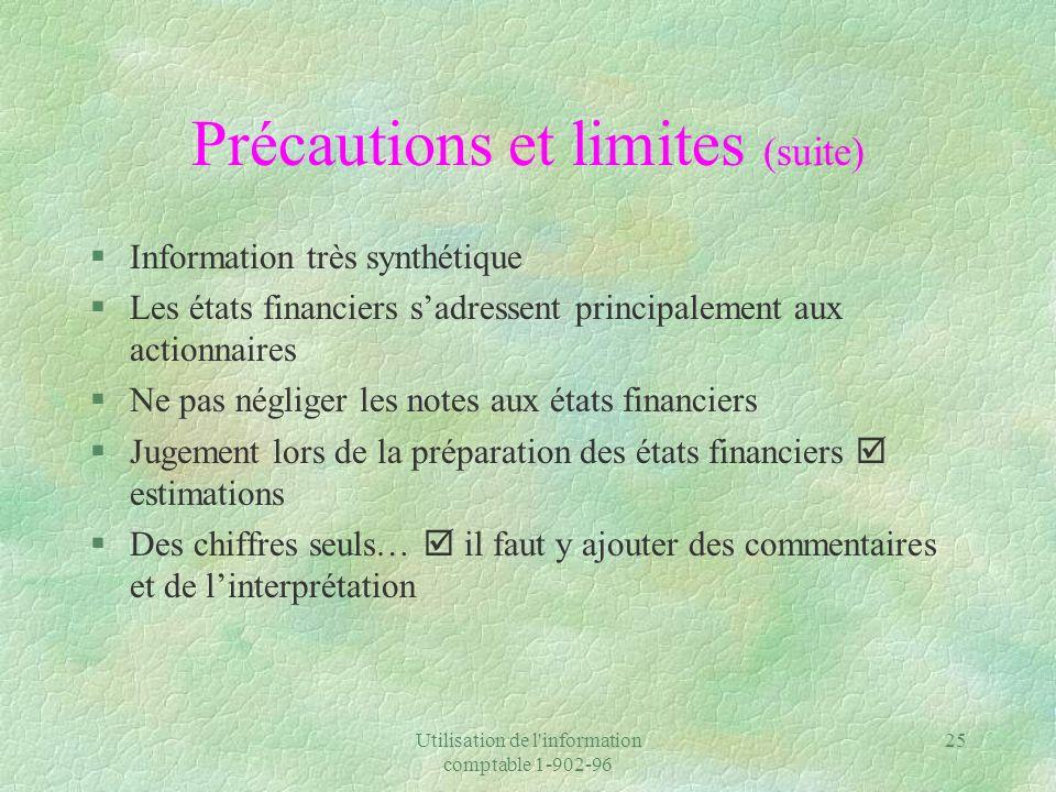 Précautions et limites (suite)