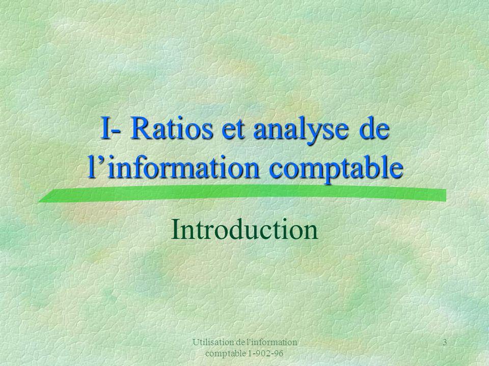 I- Ratios et analyse de l'information comptable