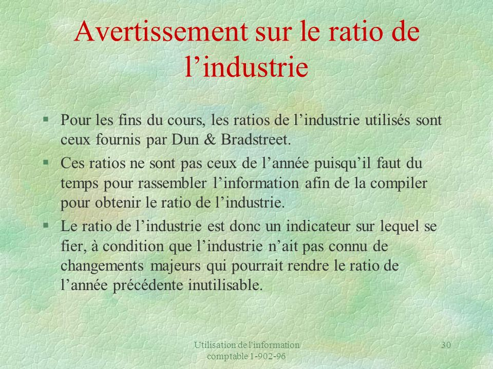 Avertissement sur le ratio de l'industrie