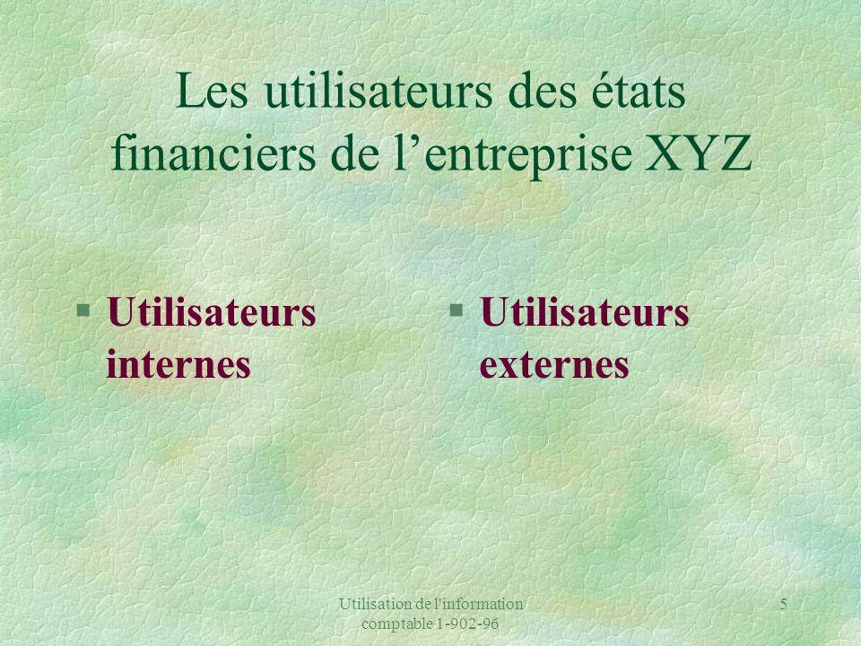 Les utilisateurs des états financiers de l'entreprise XYZ
