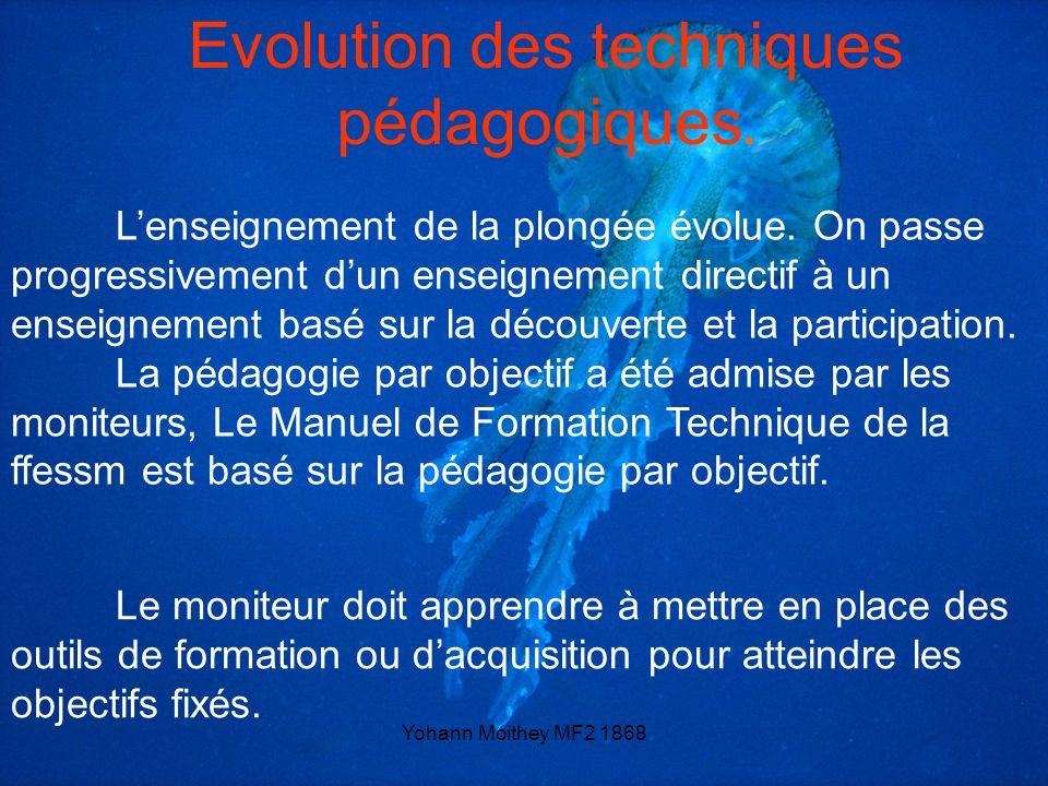 Evolution des techniques pédagogiques.