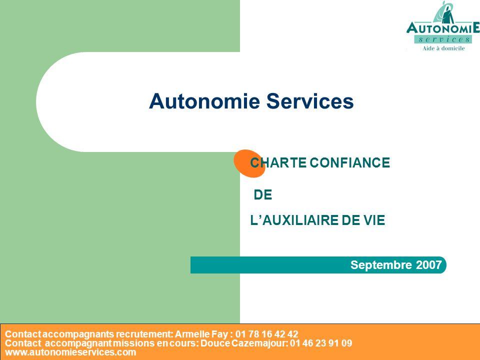 CHARTE CONFIANCE DE L'AUXILIAIRE DE VIE Septembre 2007