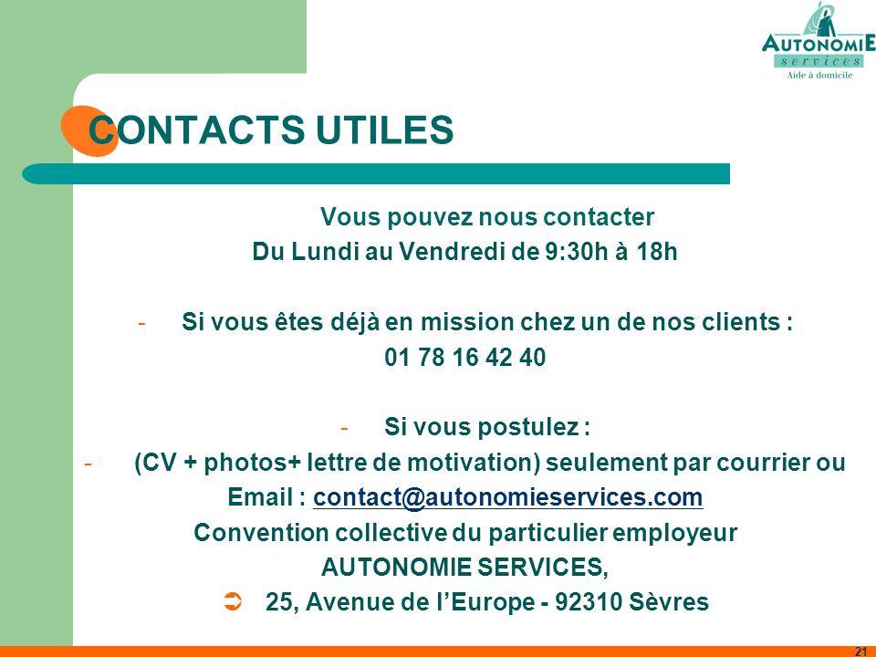CONTACTS UTILES Vous pouvez nous contacter