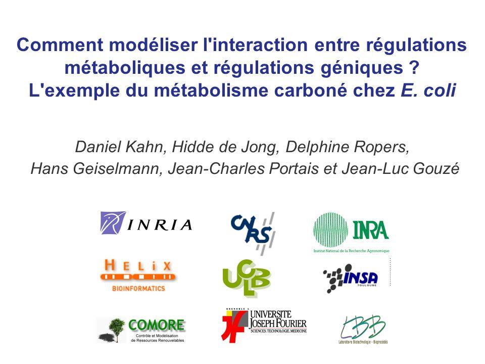 Comment modéliser l interaction entre régulations métaboliques et régulations géniques L exemple du métabolisme carboné chez E. coli