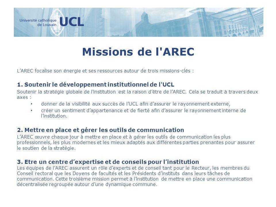 Missions de l AREC L'AREC focalise son énergie et ses ressources autour de trois missions-clés :