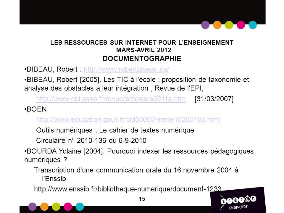 LES RESSOURCES SUR INTERNET POUR L'ENSEIGNEMENT MARS-AVRIL 2012