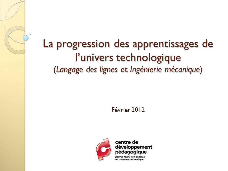 La progression des apprentissages de l'univers technologique (Langage des lignes et Ingénierie mécanique)