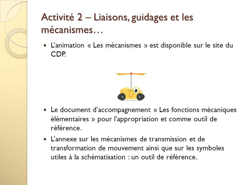 Activité 2 – Liaisons, guidages et les mécanismes…