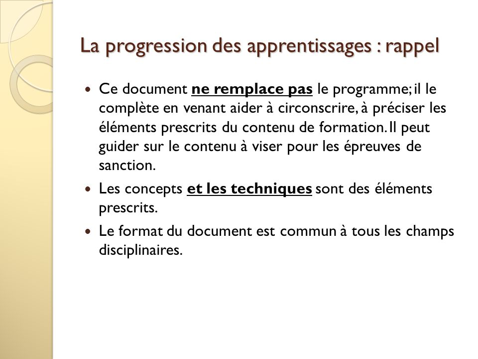 La progression des apprentissages : rappel