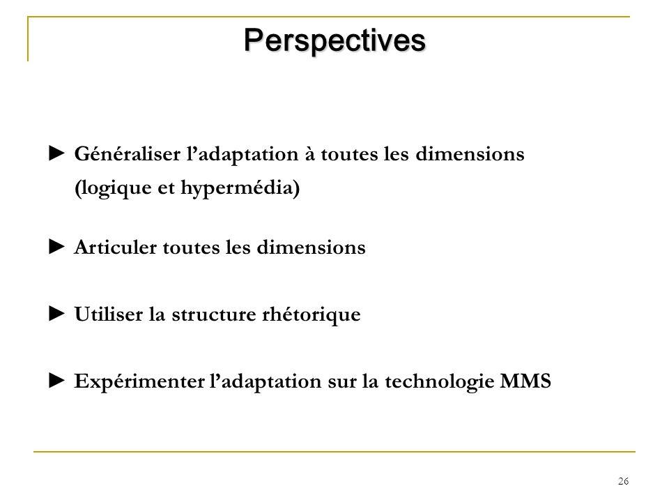 Perspectives Généraliser l'adaptation à toutes les dimensions