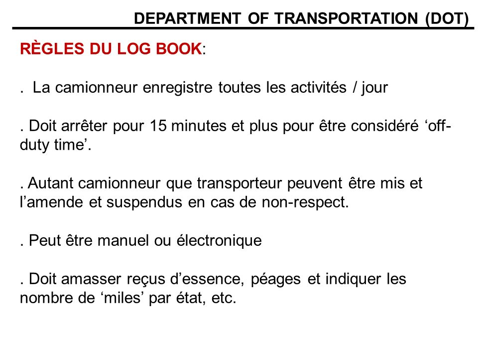 DEPARTMENT OF TRANSPORTATION (DOT)