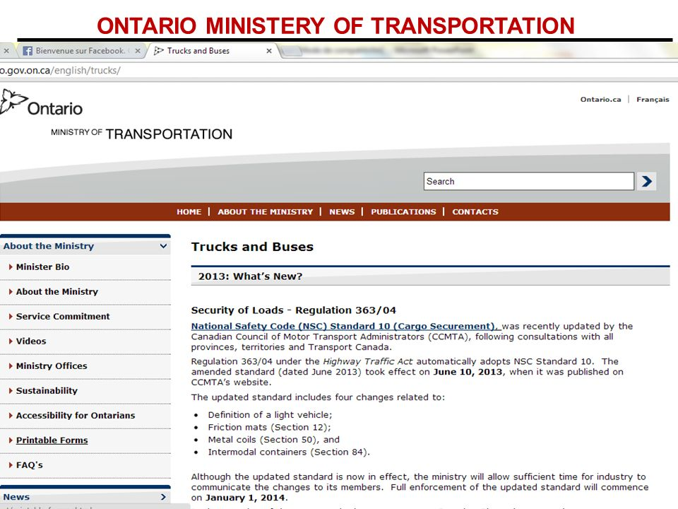 ONTARIO MINISTERY OF TRANSPORTATION