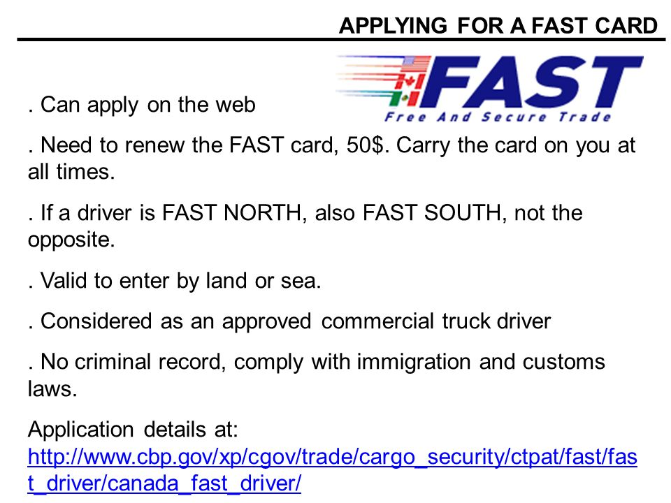 APPLYING FOR A FAST CARD