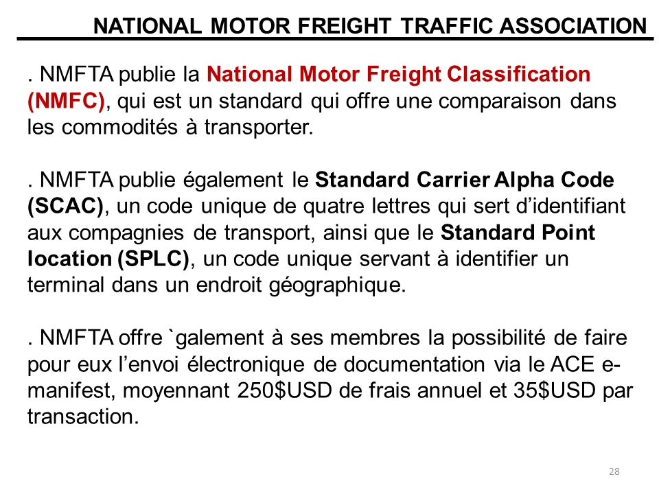 National motor freight traffic association nmfta for National motor freight traffic association