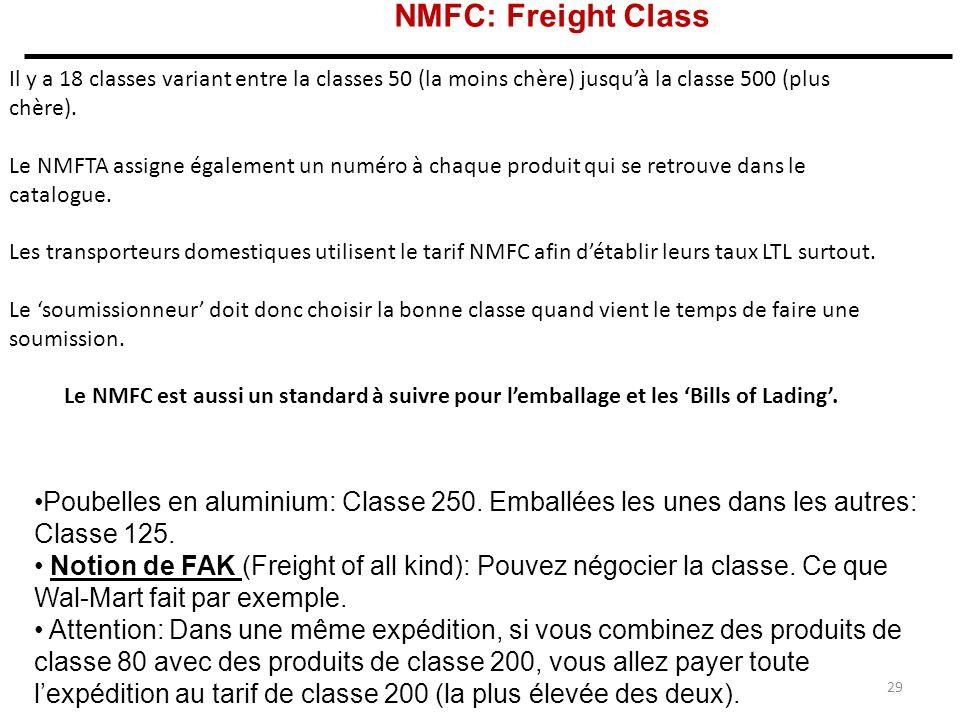 NMFC: Freight Class Il y a 18 classes variant entre la classes 50 (la moins chère) jusqu'à la classe 500 (plus chère).