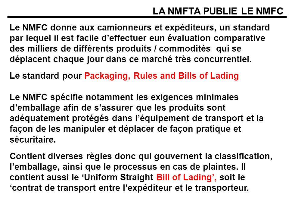 LA NMFTA PUBLIE LE NMFC