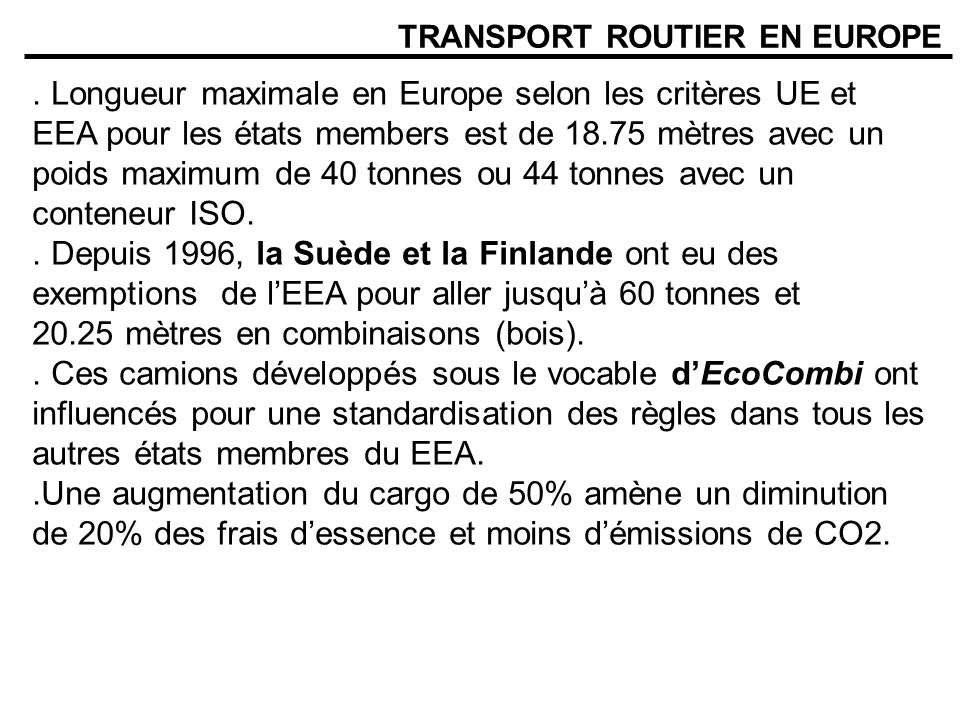 TRANSPORT ROUTIER EN EUROPE