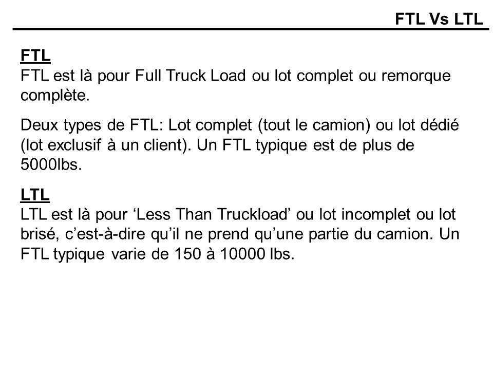 FTL Vs LTL FTL FTL est là pour Full Truck Load ou lot complet ou remorque complète.