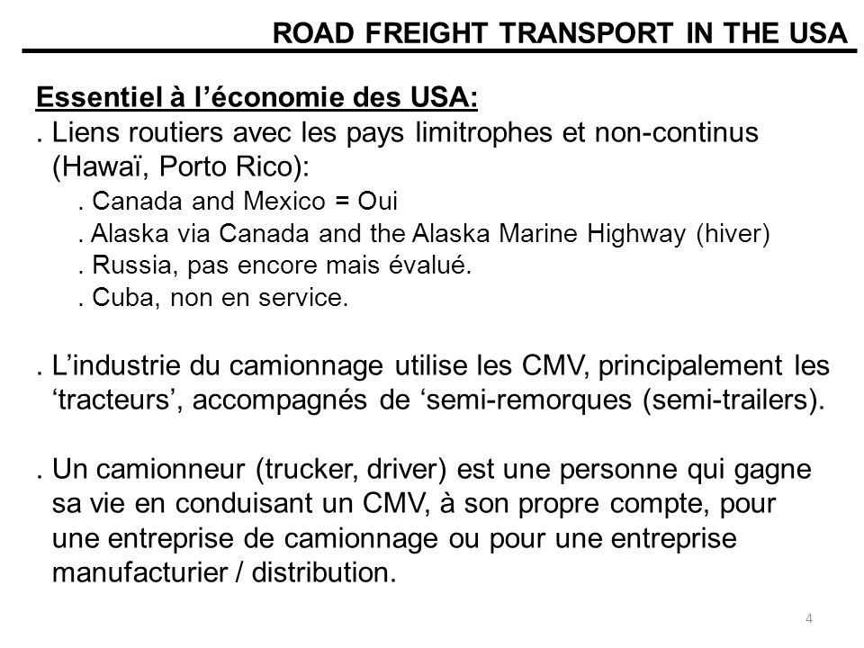 ROAD FREIGHT TRANSPORT IN THE USA