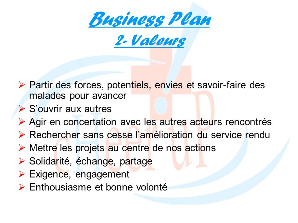 Business Plan 2- Valeurs